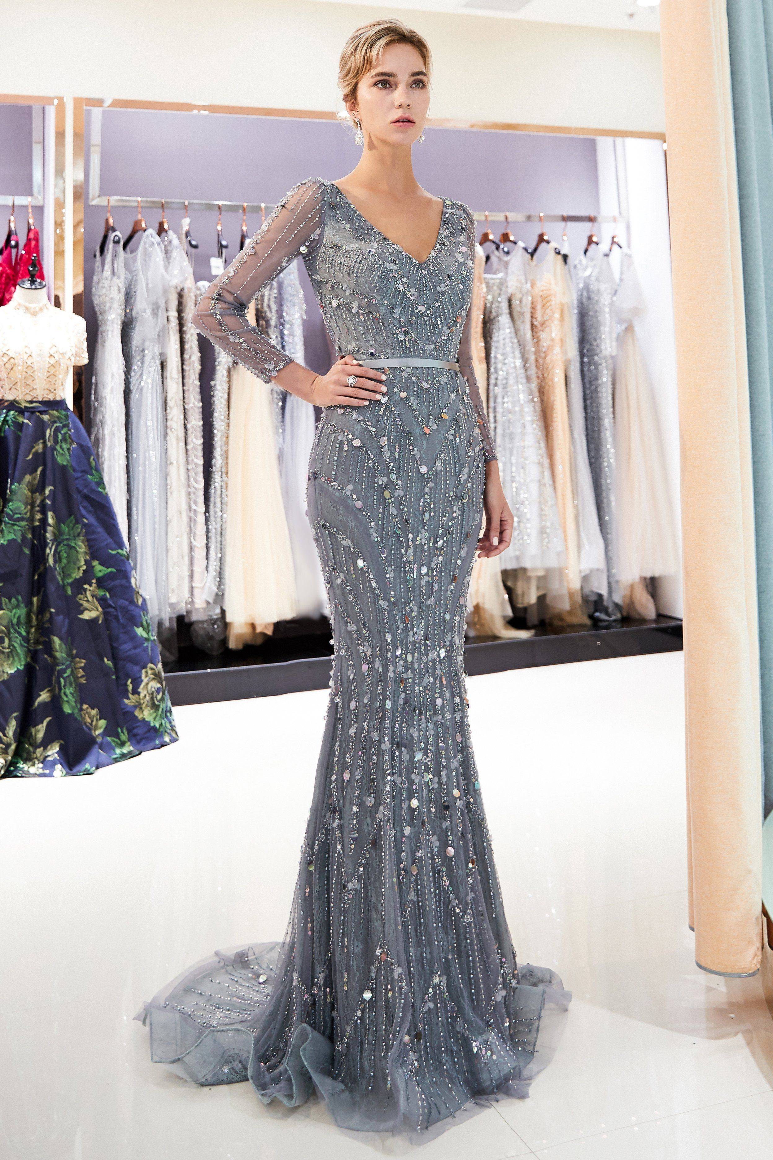c6f3342c6f Mermaid Long Sleeves Grey Prom Evening Dress with Multi-Colored ...