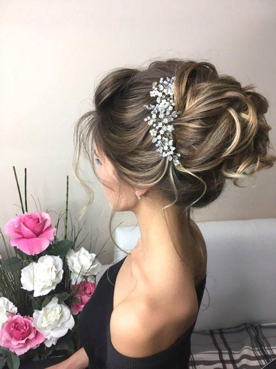 Wedding hair piece pearl Bridal hair comb Crystal pearl Bridal hairpiece silver or gold