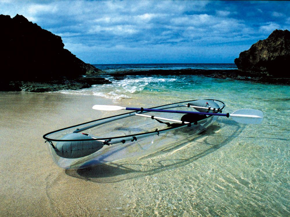 See Clear Blue Hawaii's Transparent Bulletproof Glass Kayaks. http://www.selectism.com/2014/09/26/clear-blue-hawaii-glass-kayaks/