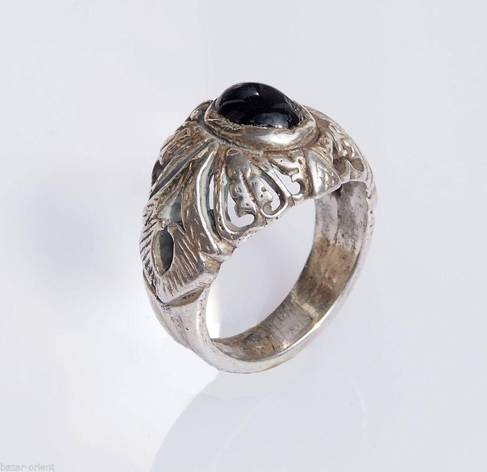 antik orient Afghan Edelstein silber schwarz  Hämatit Ring hematite silver Nr-38