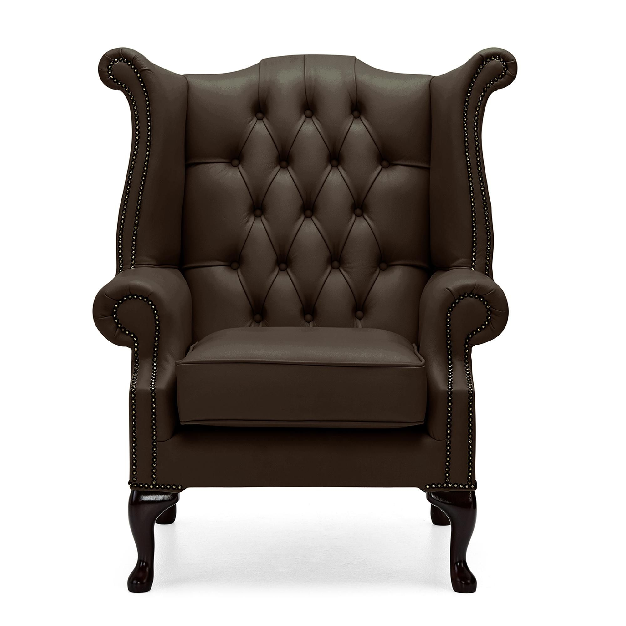 Belvedere Chesterfield Leather Queen Anne Armchair In 2020