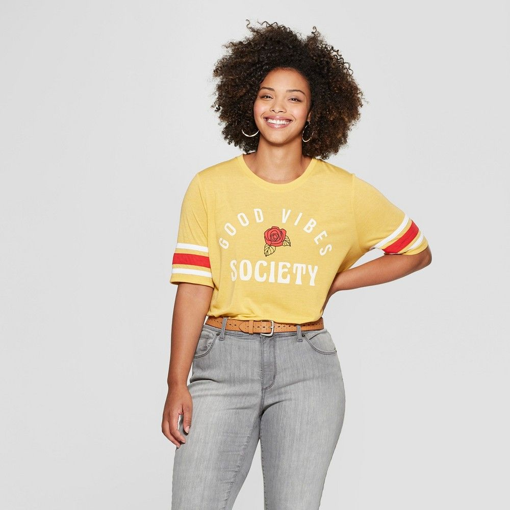 ff8405a2 Women's Plus Size Short Sleeve Good Vibes Society Graphic T-Shirt - Mighty  Fine (Juniors') Mustard 1X, Yellow