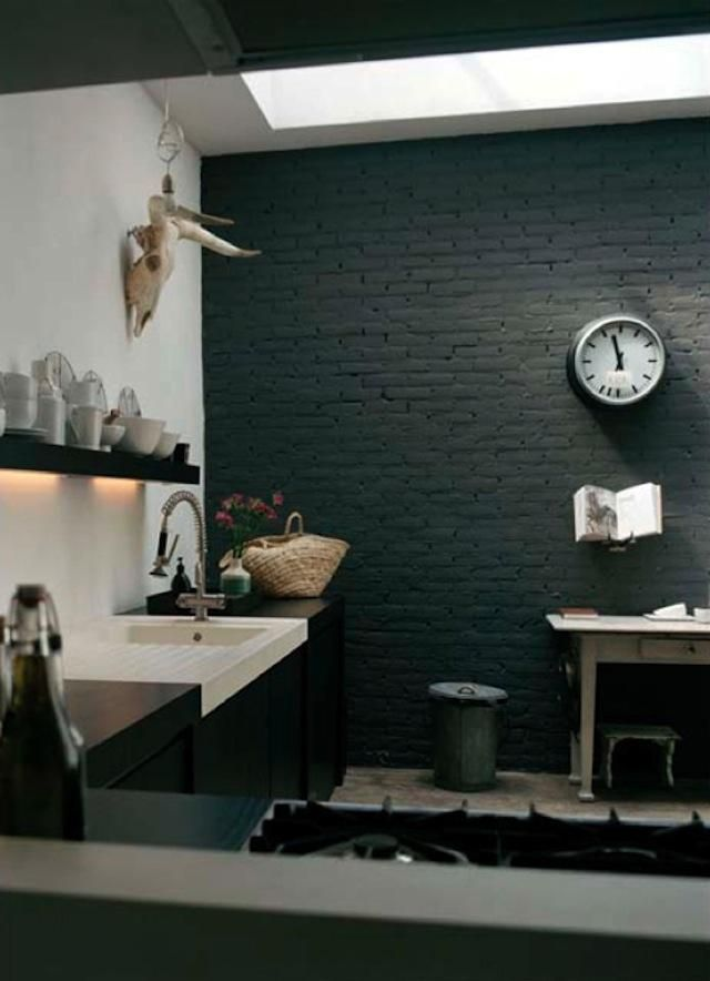 Steal This Look Amsterdam Kitchen Remodelista Brick Interior Black Brick Wall Painted Brick Walls