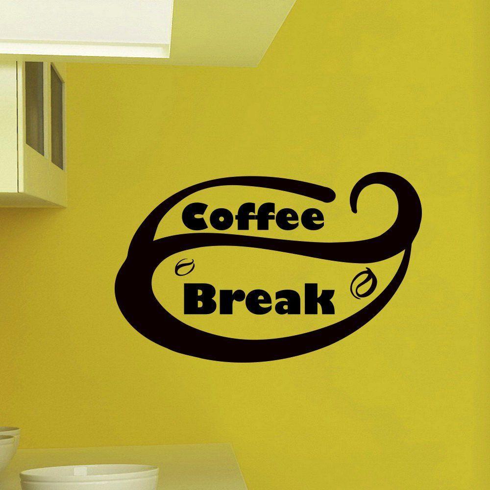 Wall Decals Vinyl Sticker Quote Coffee Break Kitchen Bar Cafe ...