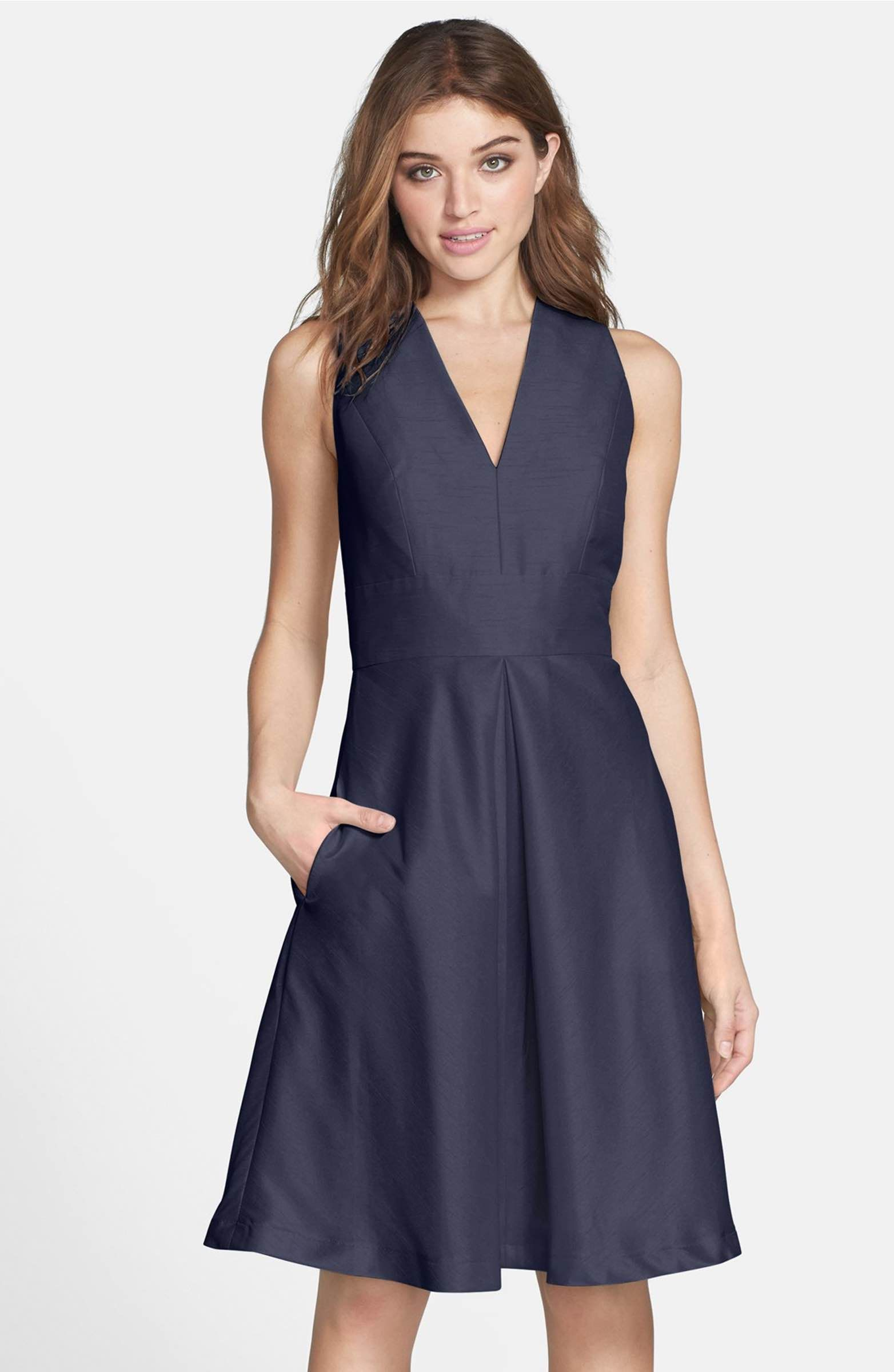 V-Neck Dupioni Cocktail Dress | Alfred sung, Pantone and Nordstrom