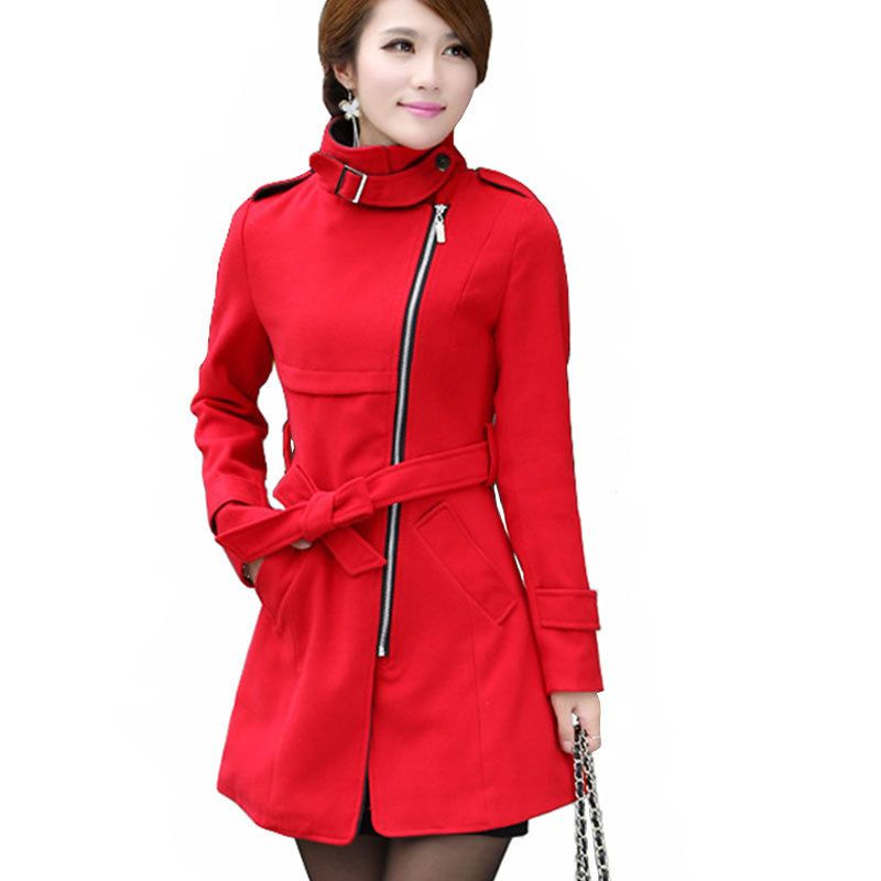 New 2015 women's woollen coat women long wool winter coats red ...