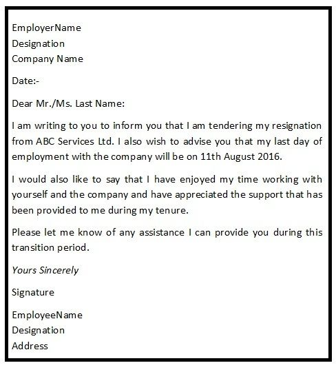 An ideal sample of a good resignation letter consists of all the – Nice Resignation Letter Template