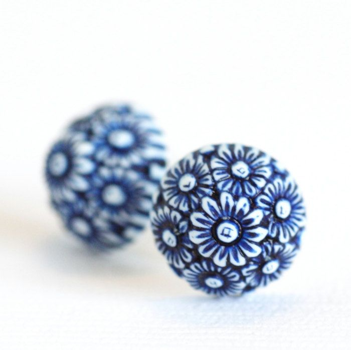 Blue and White Earrings  - Ornate Floral Blue and White Daisies