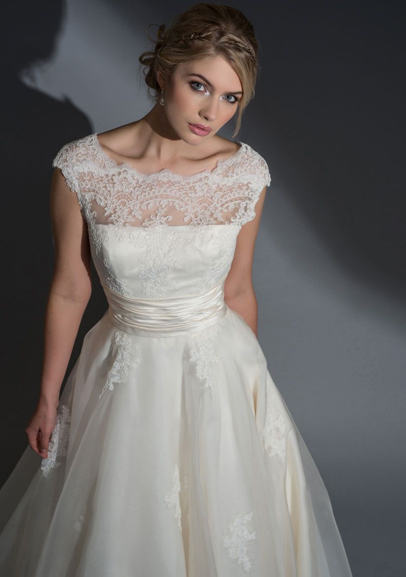 Lo frederica silk organza dress with a corded lace bodice for Sheer bodice wedding dress