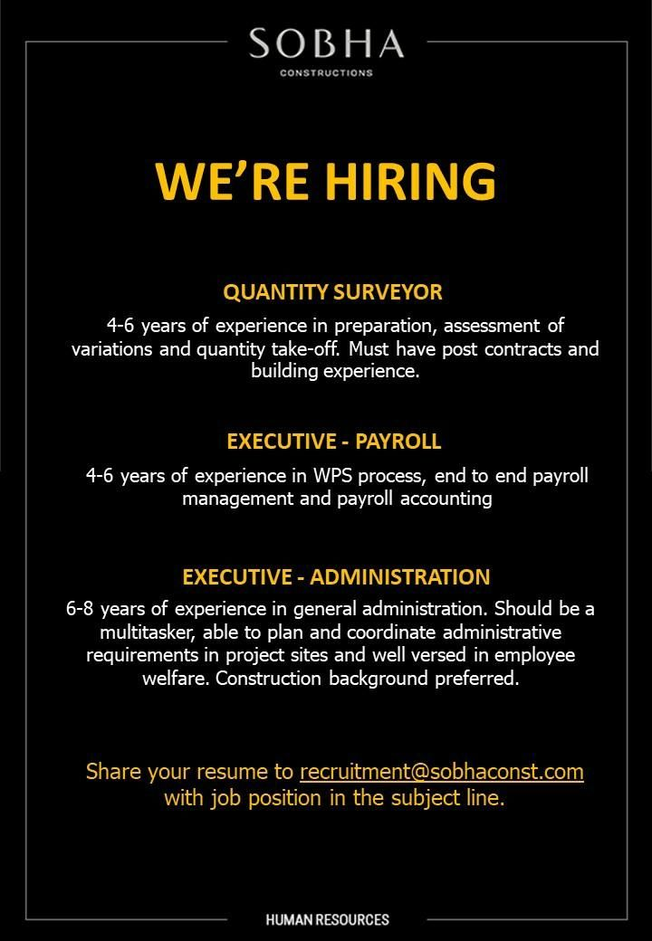 Multiple Job Openings Uae In 2020 Job Opening Job Payroll Accounting