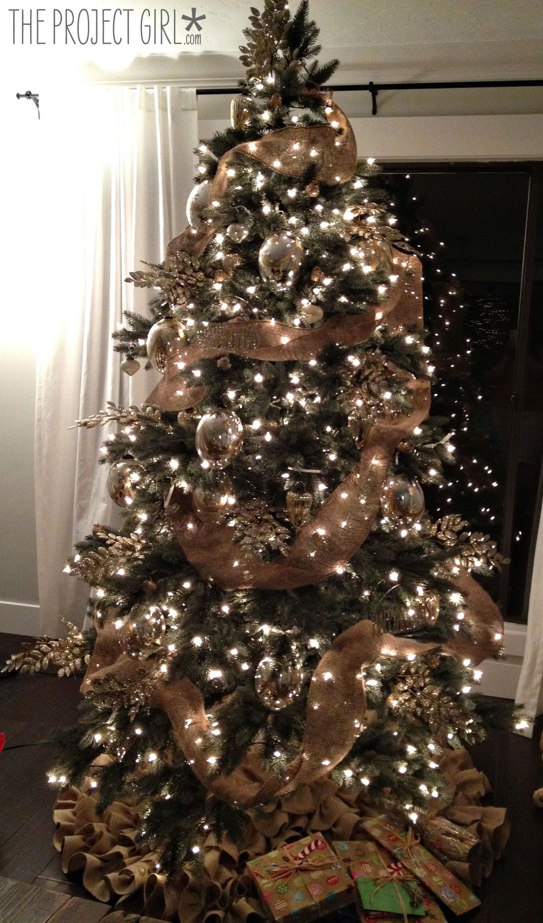 natural and burlapher decorations are gorgeous img_0633 elegant christmas treesburlap - Brown Christmas Tree