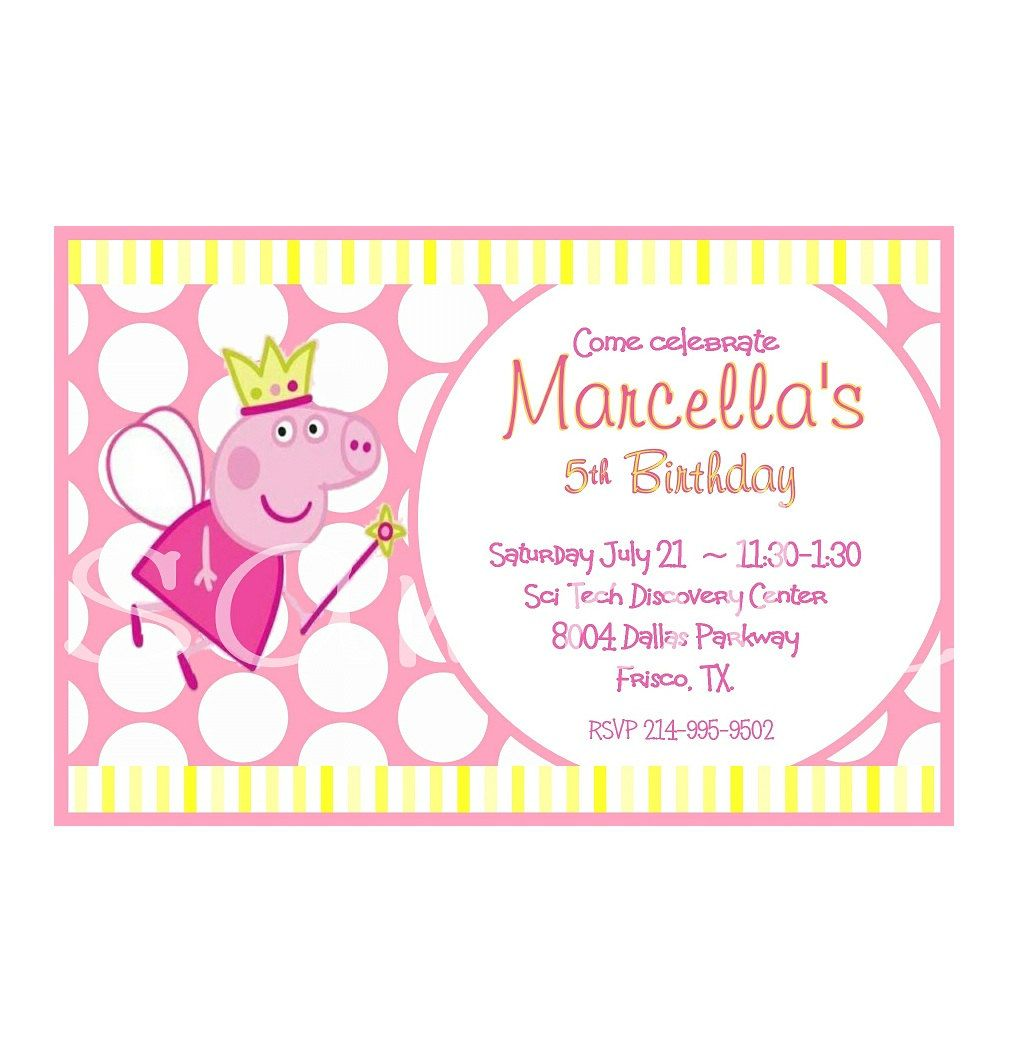 PEPPA Pig inspired- Printable Party Invitations- PERSONALIZED ...