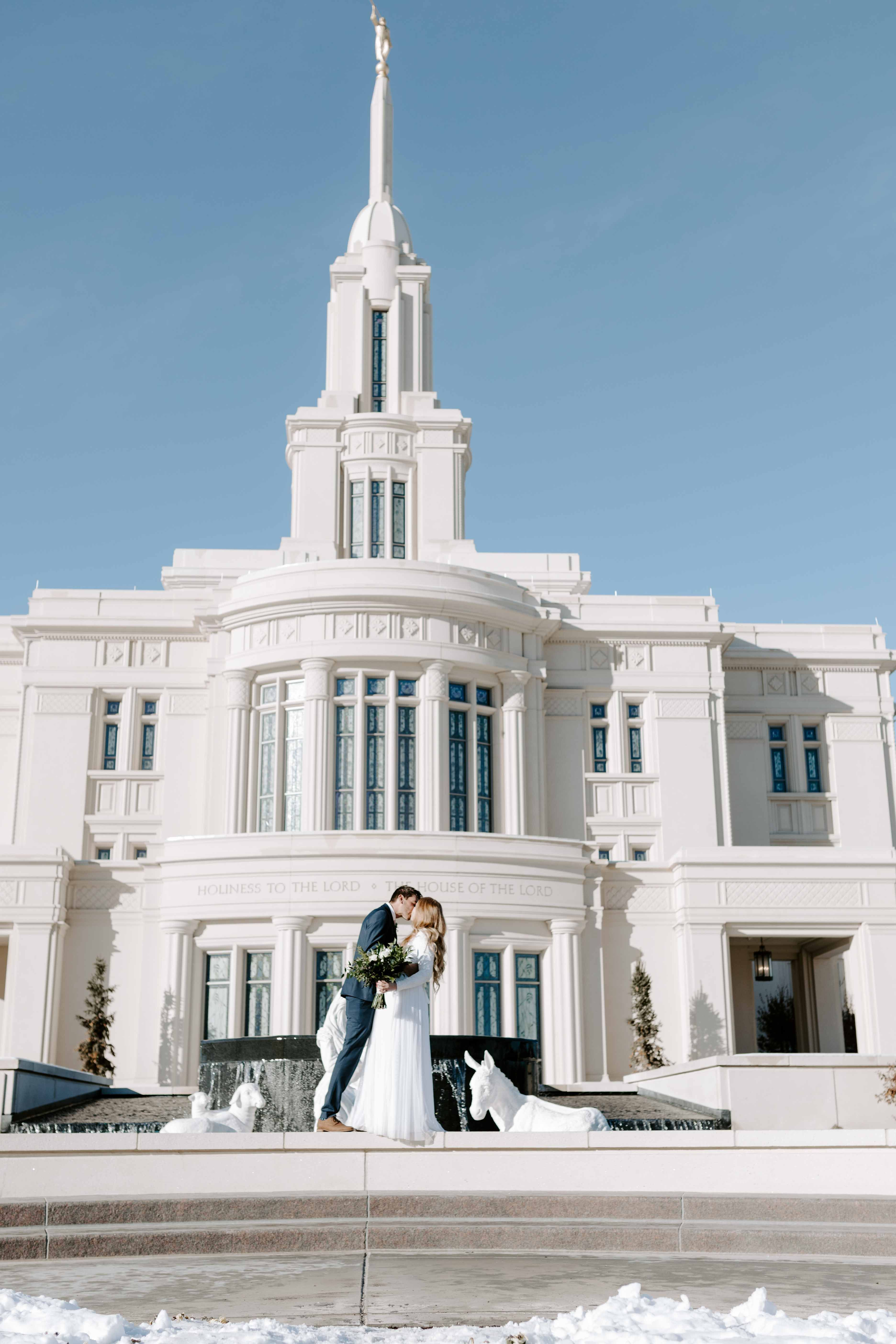Lds Winter Wedding Utah Wedding Photography Payson Temple With