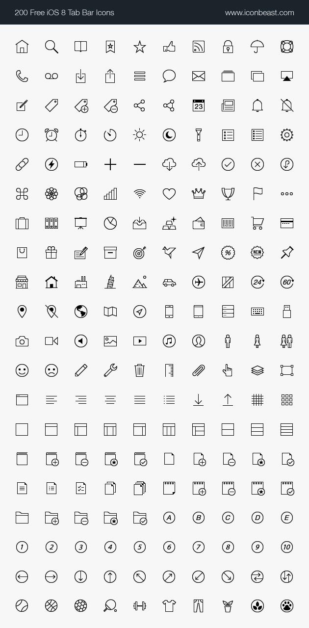 Iconbeast Lite 500 Free Ios Tab Bar Icons For Iphone And Ipad Toolbar Icons Icon Ios Icon