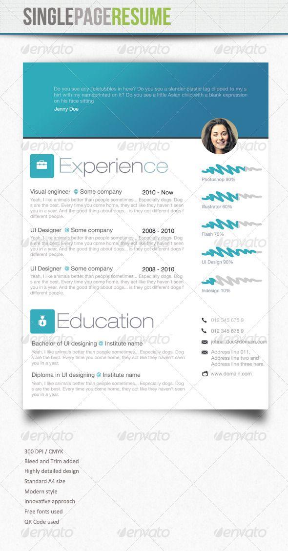 Simple Resume 4 Simple Resume Social Media Design Graphics Indesign Resume Template