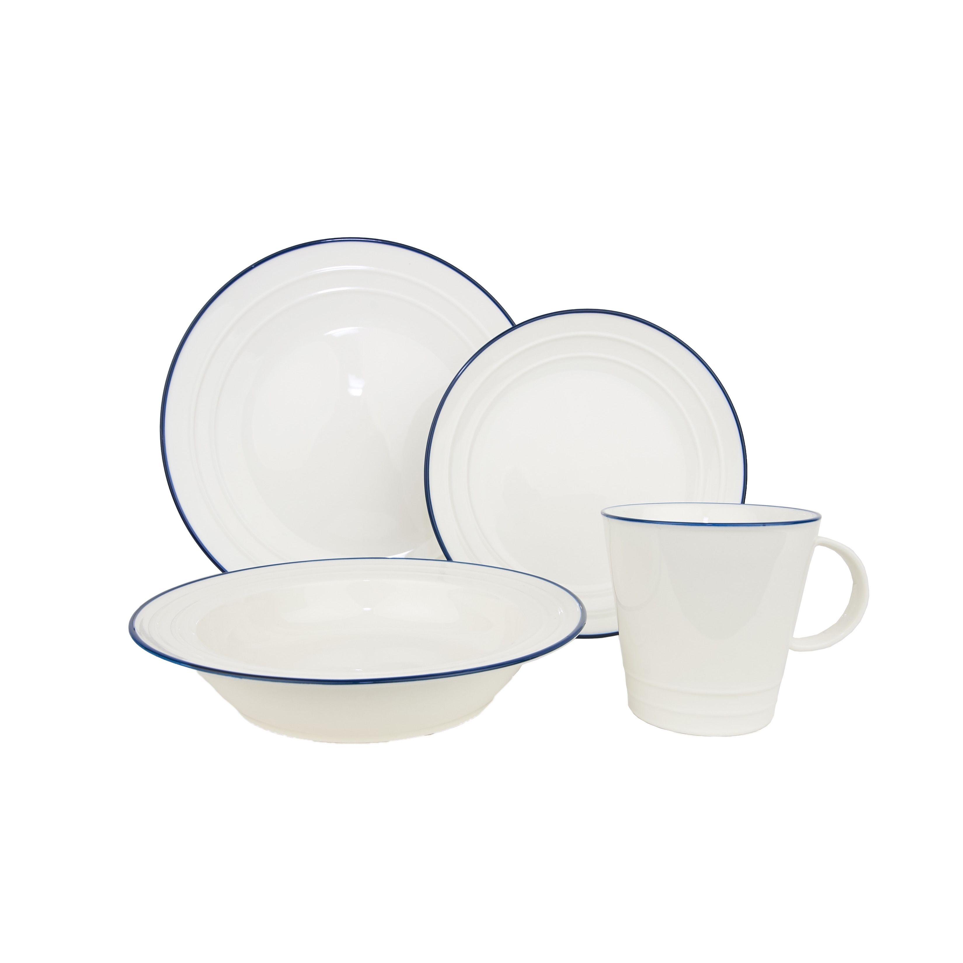Baker S Blue 16 Piece Dinnerware Set Service For 4 Baker S Blue