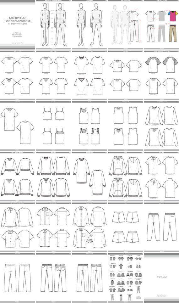 Fashion Flat Sketches Adobe Illustrator Design Template Ai Etsy Clothing Design Sketches Fashion Design Template Flat Sketches