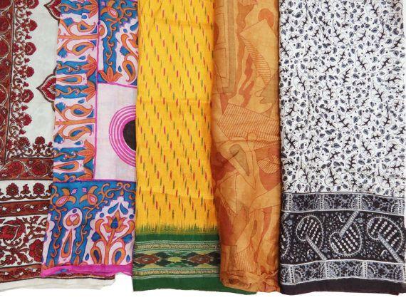 5 Pcs Pure Silk Vintage Fat Quarter Bundle Used Sari by queensclub, $14.99