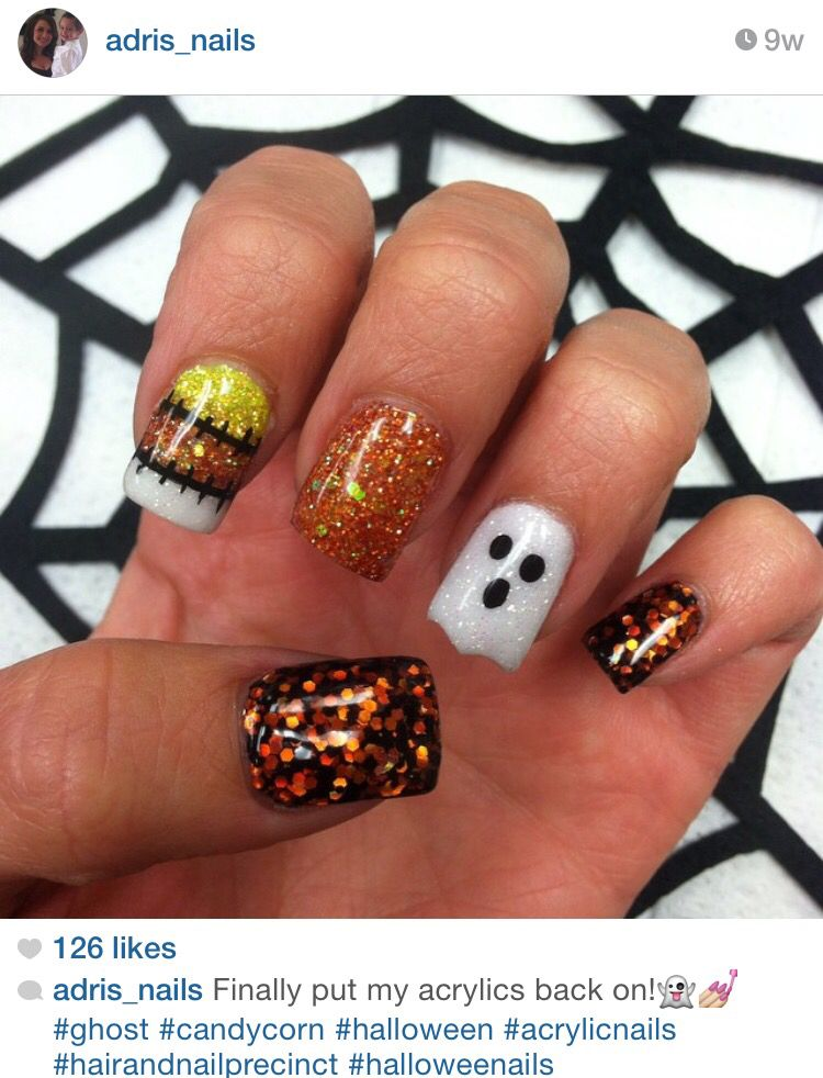 Ghost and candy corn acrylic nails by @adris_nails | Candy ...