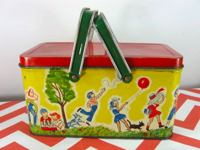 Vintage Tin Litho Lunch Box Bright Colors Children Playing