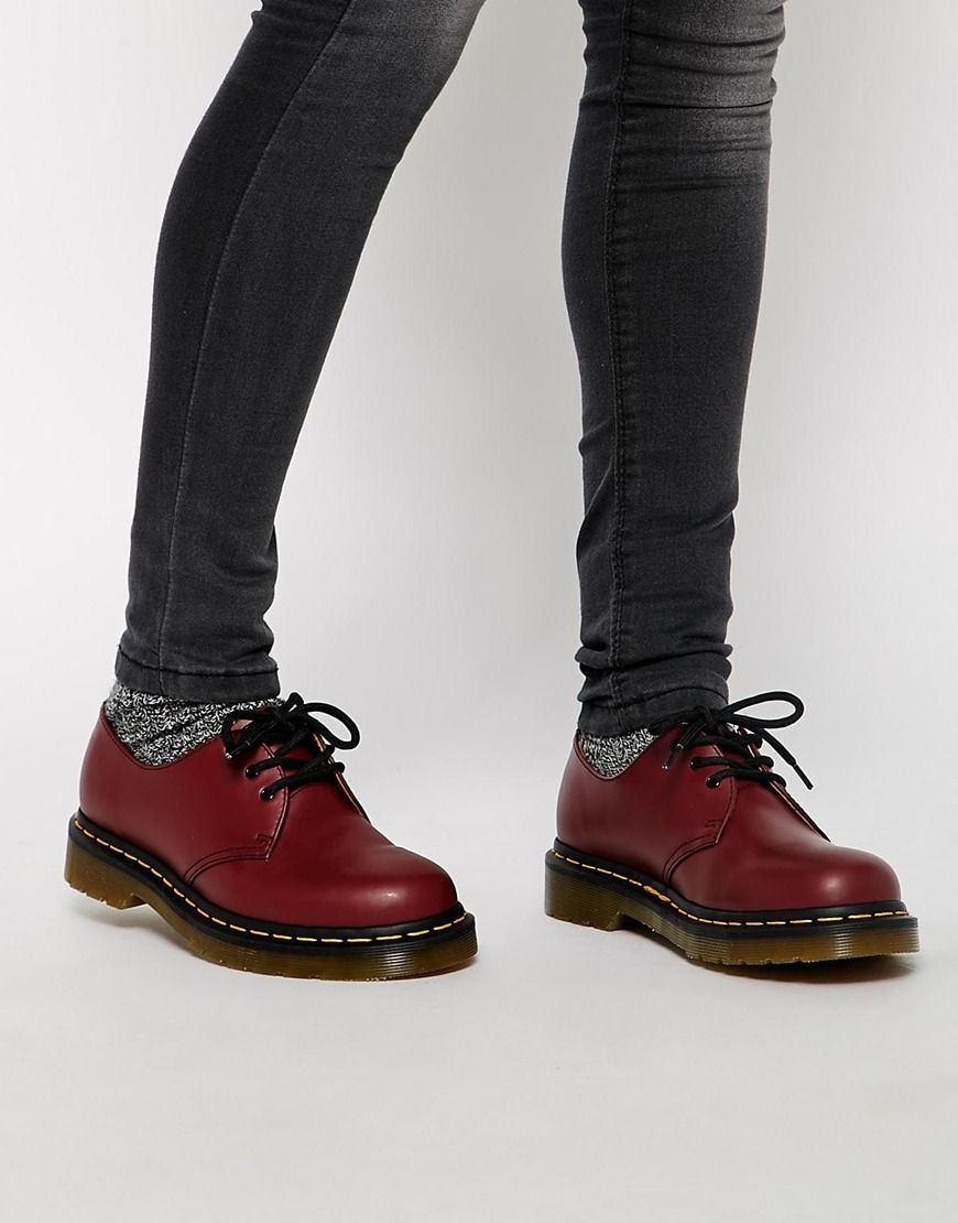 dr martens dr martens 1461 cherry red 3 eye flat shoes at asos i 39 ll wear that pinterest. Black Bedroom Furniture Sets. Home Design Ideas