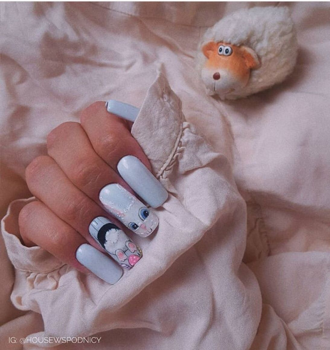50+ Cute Bunny Nail Designs For Easter - The Glossychic