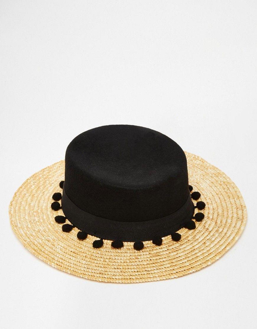 e4a14344dac Image 3 of Catarzi Straw Hat with Contrast Black Crown and Pom Pom Trim Pom  Pom