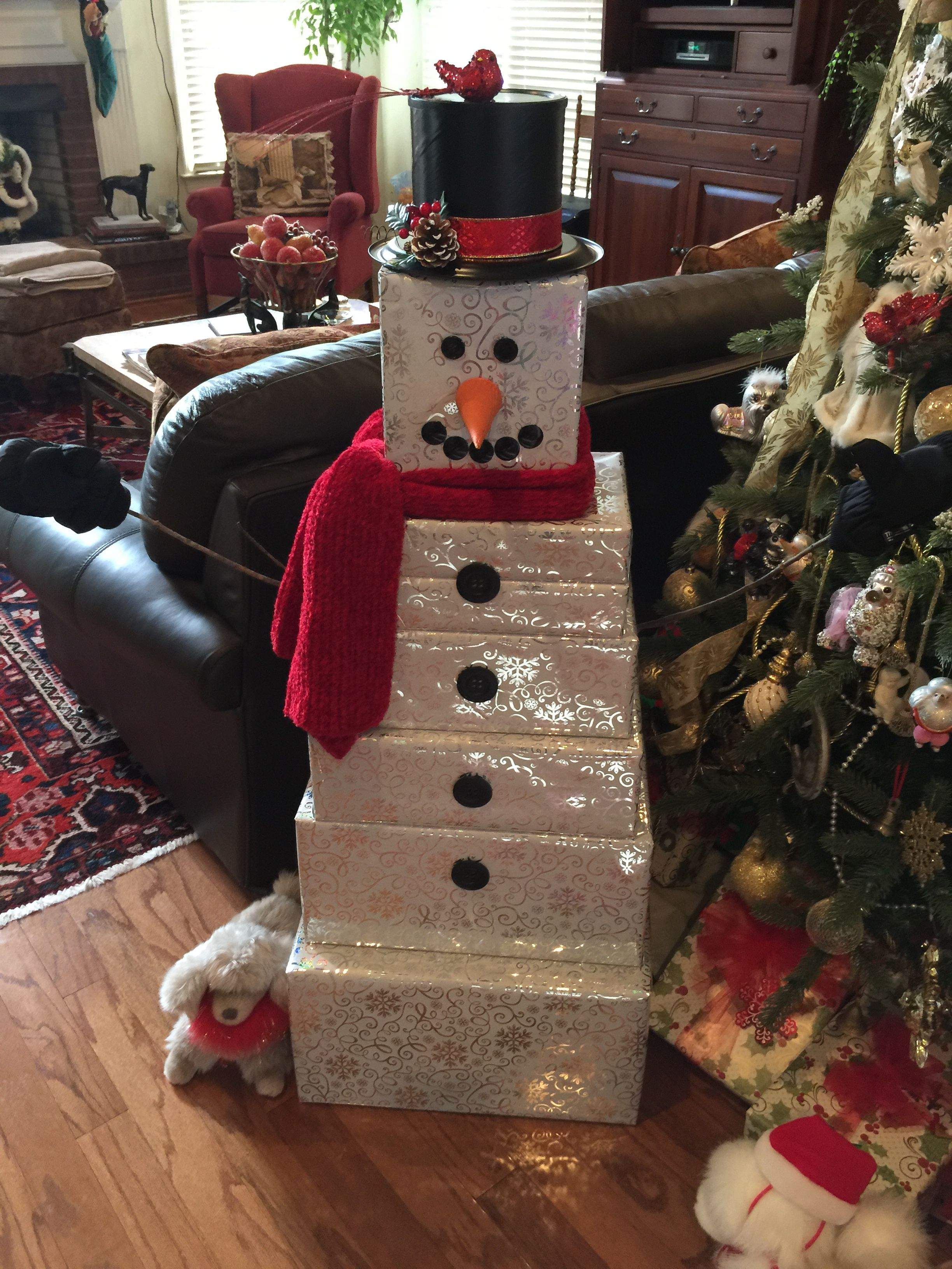 Snowman Gift Wrapped Tower For My Grandson Creative Christmas Christmas Diy Diy Christmas Gifts Creative
