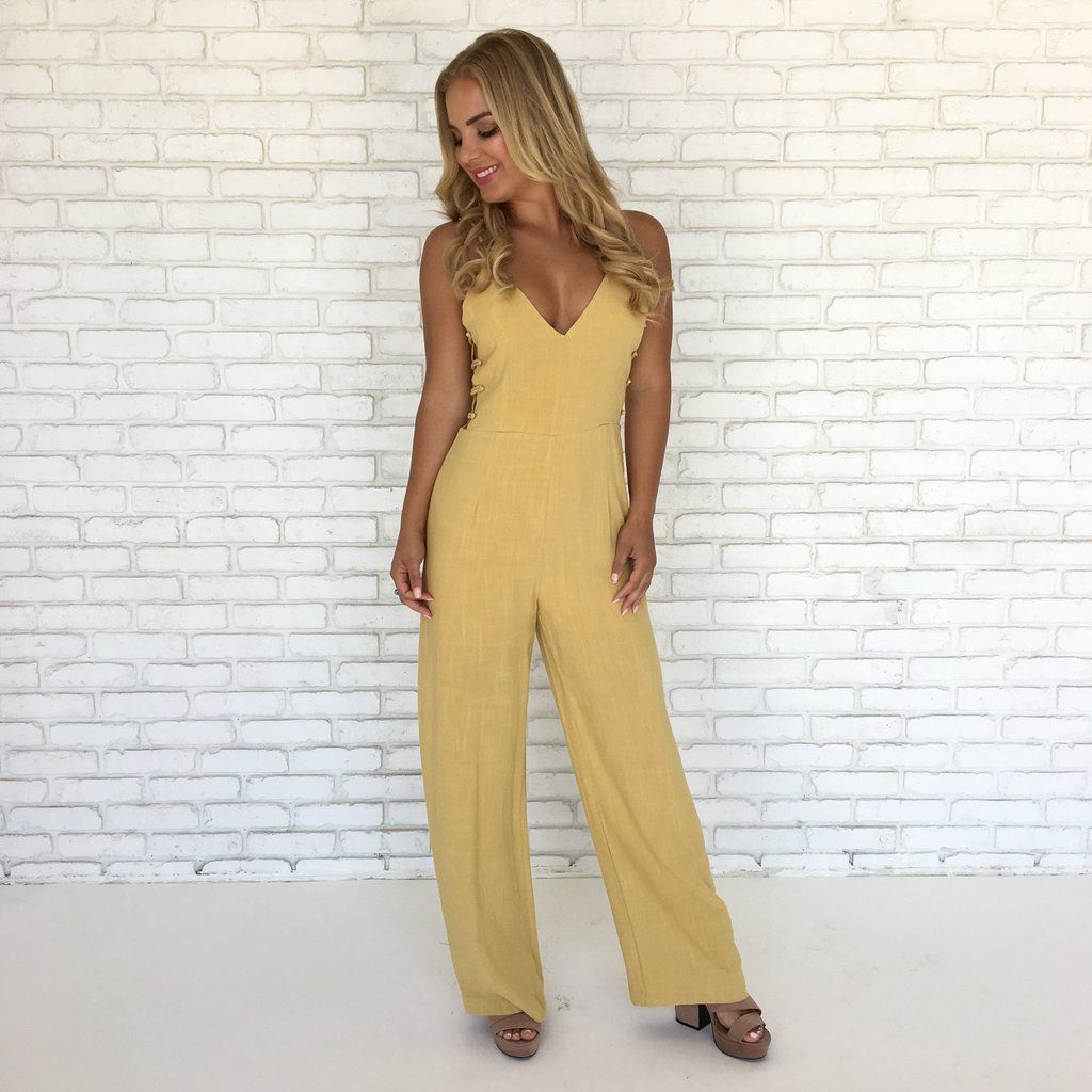 Day job linen jumpsuit in mustard linen jumpsuit