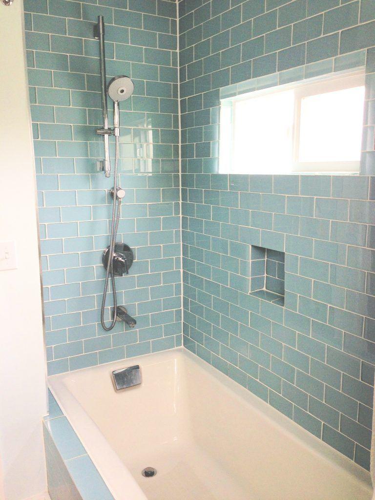 interior bathroom subway light blue ceramic glass tile combined ...
