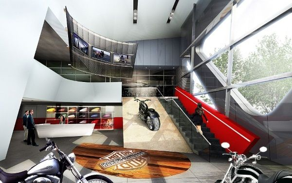 Interior Render Of The Offices And Bikes Showroom