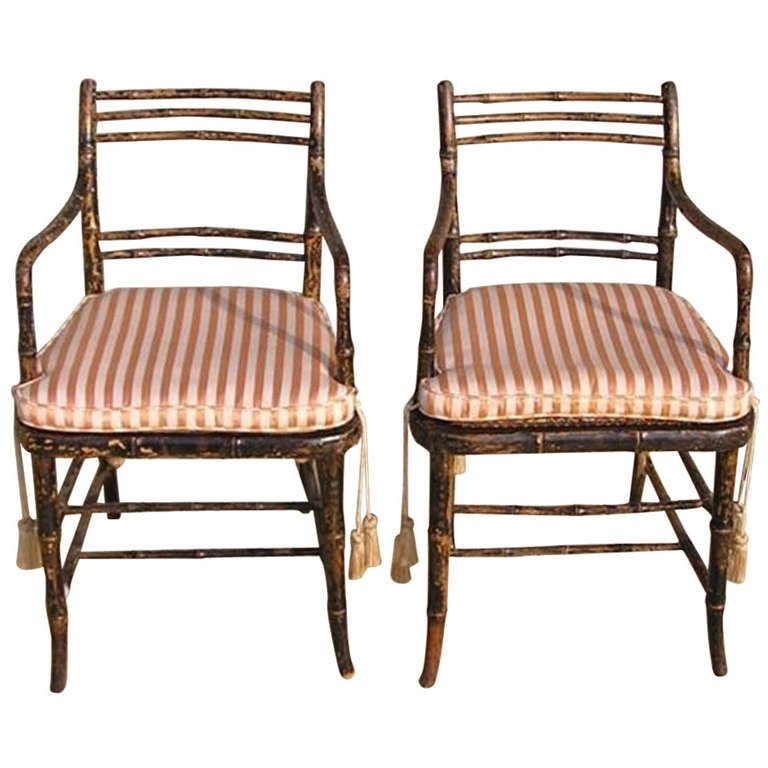 Pair Of English Regency Painted Faux Bamboo Arm Chairs. Circa 1790