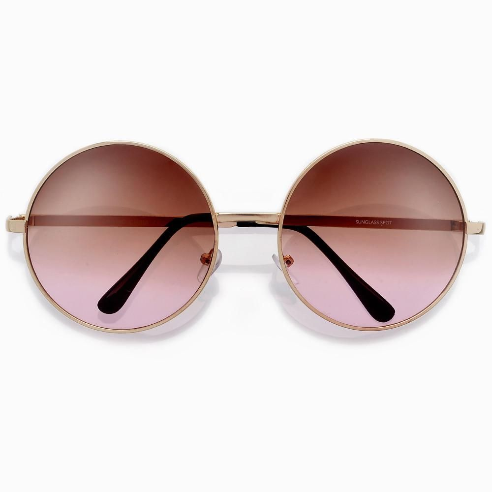 69b8b31941 Oversized 60mm Round Boho Chic Wire Frame Sunnies