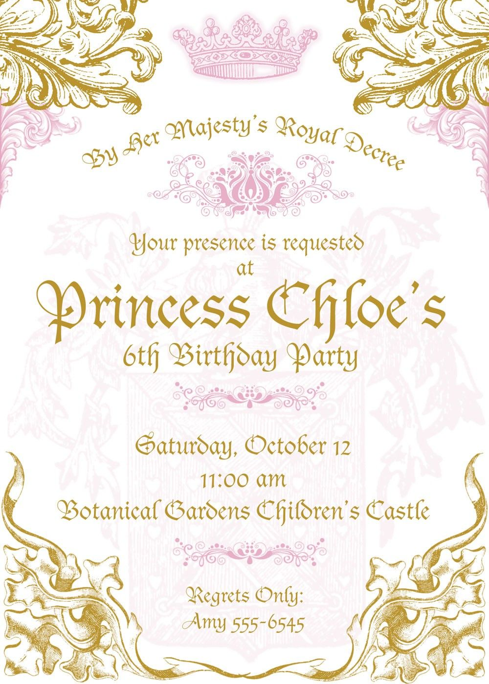 princess themed invitation wording