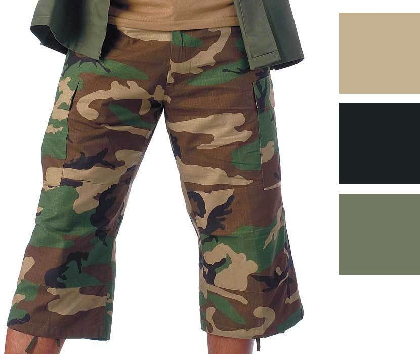 Camo Capris Long Cargo Shorts Military Army Fatigues Tactical 3 4 BDU Pants   Rothco  Cargo b7dc3e05049
