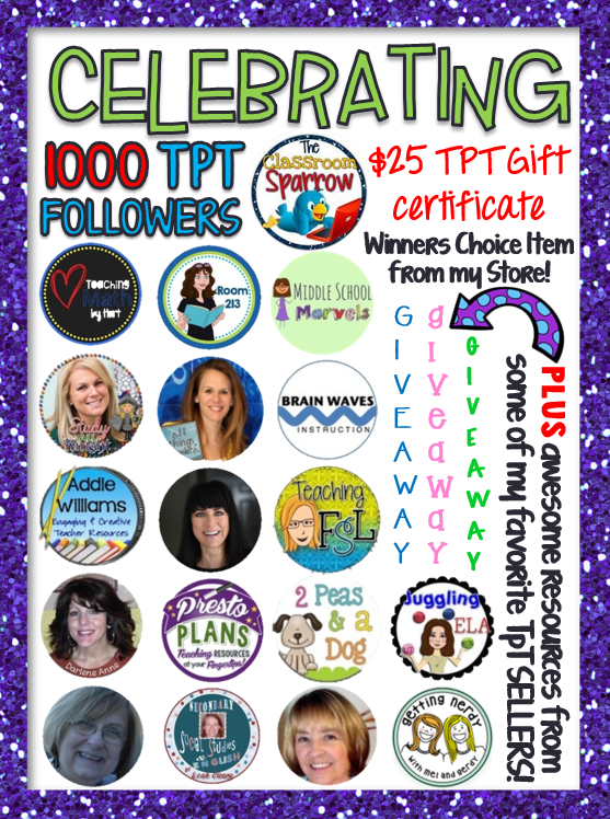 The Classroom Sparrow is having a 1000 Follower GIVEAWAY!! Enter now! YOU could win a $25 gift certificate, winners choice item from my store, and over 15 awesome resources from some of my favorite TpT sellers!