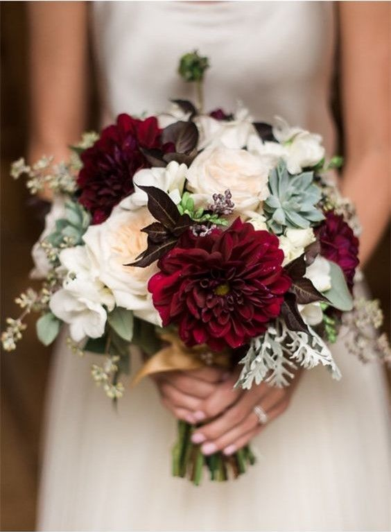 Maroon And Succulent November Wedding Bouquets Bridal Bouquet Fall Red Bouquet Wedding Succulent Bouquet Wedding