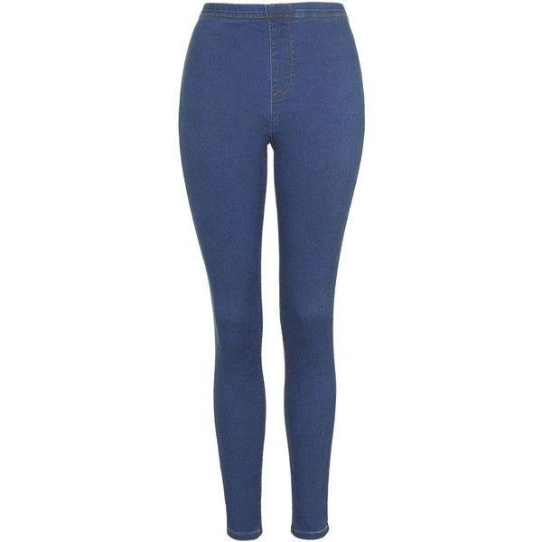 1397452bdddb41 TopShop Denim Leggings ($31) ❤ liked on Polyvore featuring pants, leggings, washed  blue, high-waisted leggings, jeggings leggings, jean leggings, ...