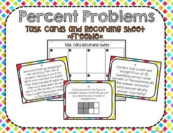 Percent problems task cards and recording sheet freebie middle percent problems task cards and recording sheet freebie fandeluxe Choice Image