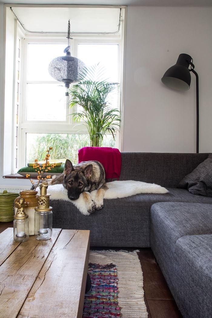 Eclectisch interieur; bank in woonkamer en kleine erker. Een DIY ...