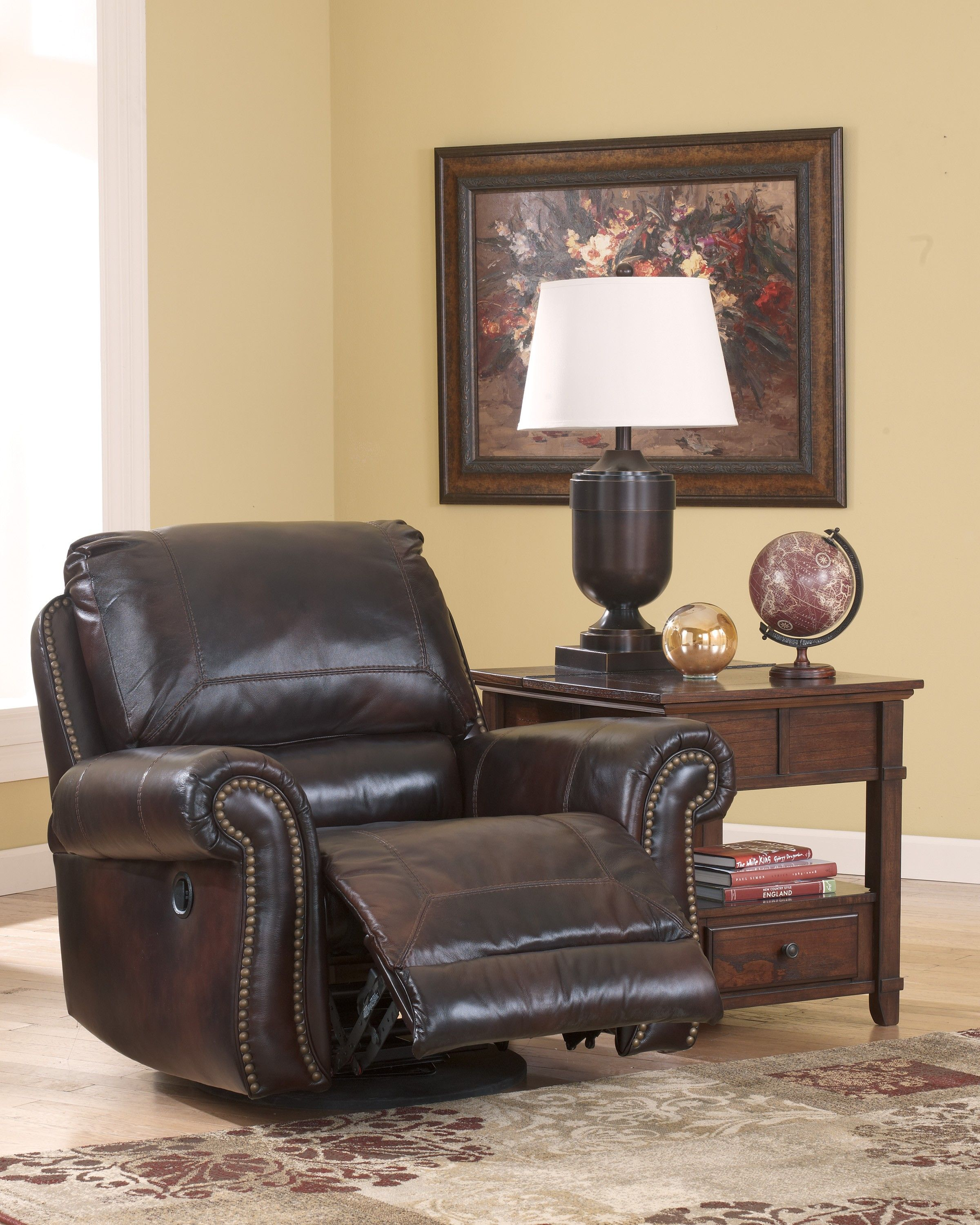 Mm furniture dexpen saddle swivel glider recliner - Swivel chair living room furniture ...