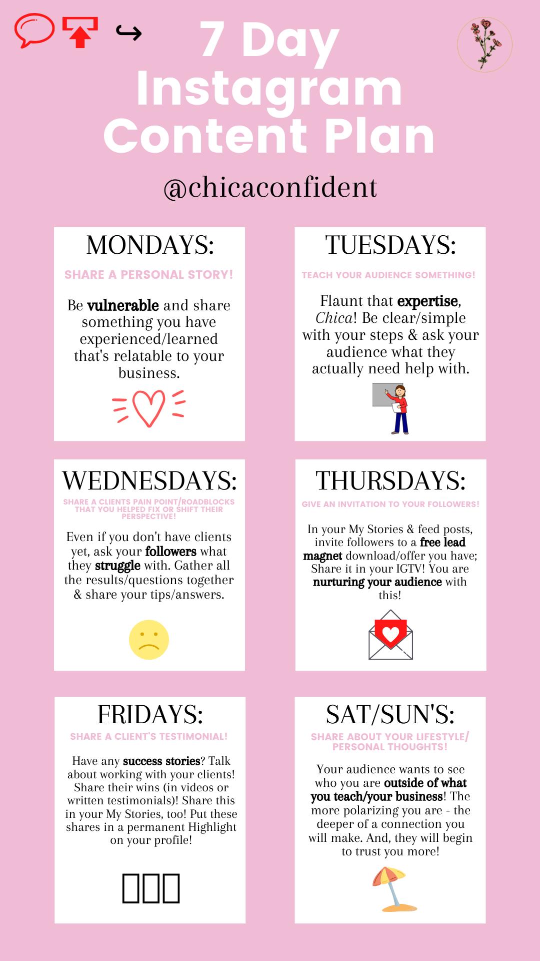 7 Day Instagram Content Plan Social Media Marketing Business Social Media Planner Social Media