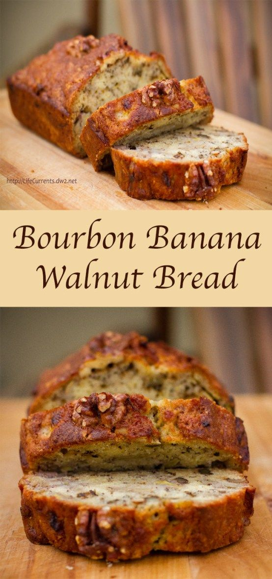 Bourbon Banana Walnut Bread is a great way to use older bananas, and it's great for a special breakfast #bananabread