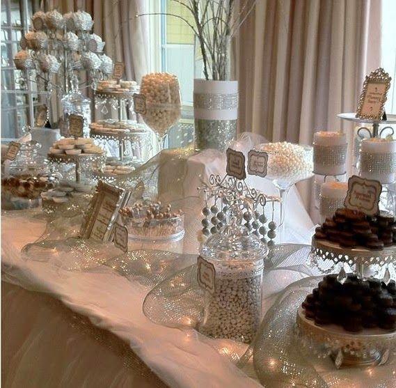 Silver Wedding Ideas And Inspiration Silver Wedding Dessert Table Dessert Buffet White Candy Buffet Candy Bar Wedding Wedding Candy Table
