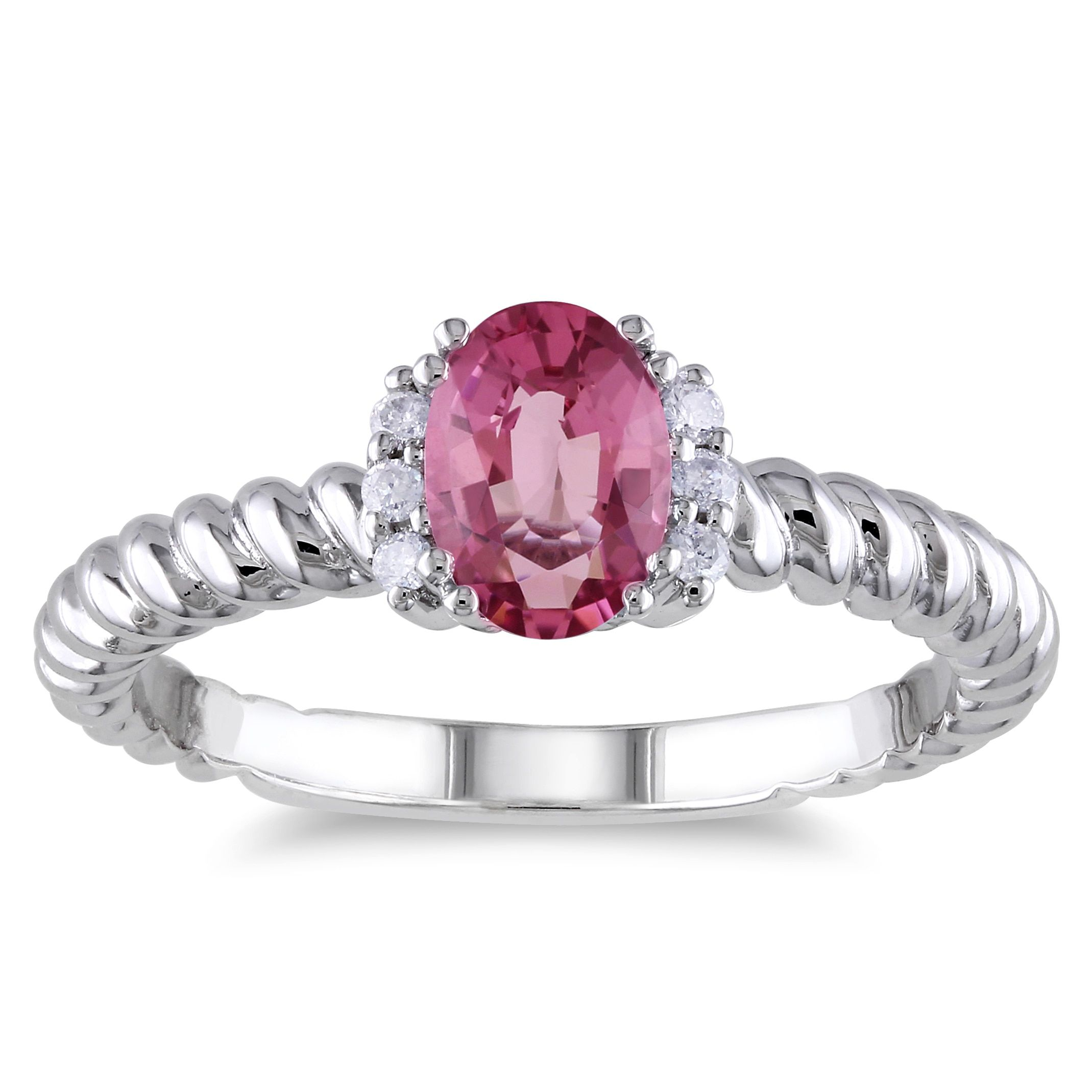 Miadora 10k White Gold Tourmaline and Diamond Accent Ring