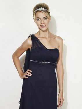7454e465c7 Linzi Jay EN049 one shoulder chiffon bridesmaid dress with a long chiffon  drape from the shoulder at the back. Also makes a great evening dress.