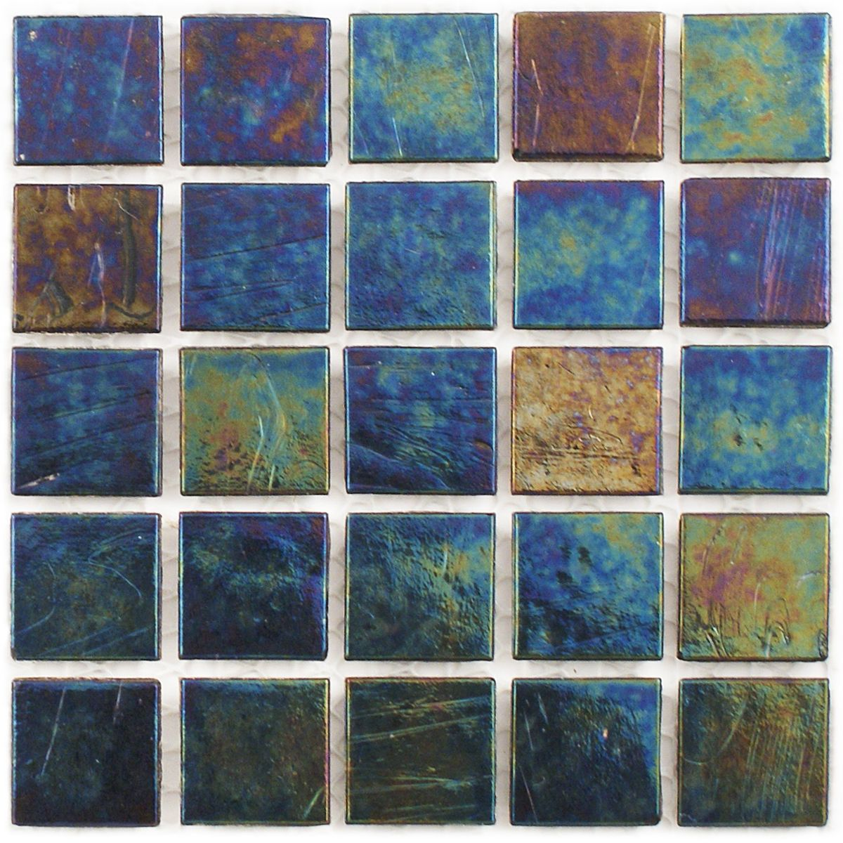 Tivoli - Indigo Blend 3/4x3/4-in Iridescent Glass Tile- $10.98 Per ...