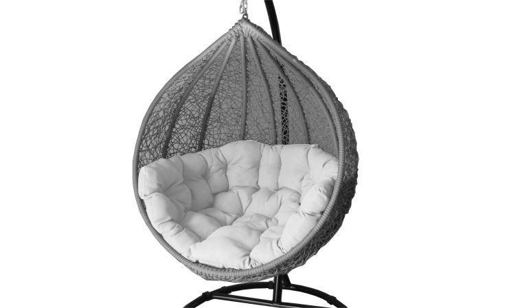 Fauteuil suspendu cocoon en aluminium haut de gamme finition structure grise coussin blanc - Fauteuil suspendu de jardin ...