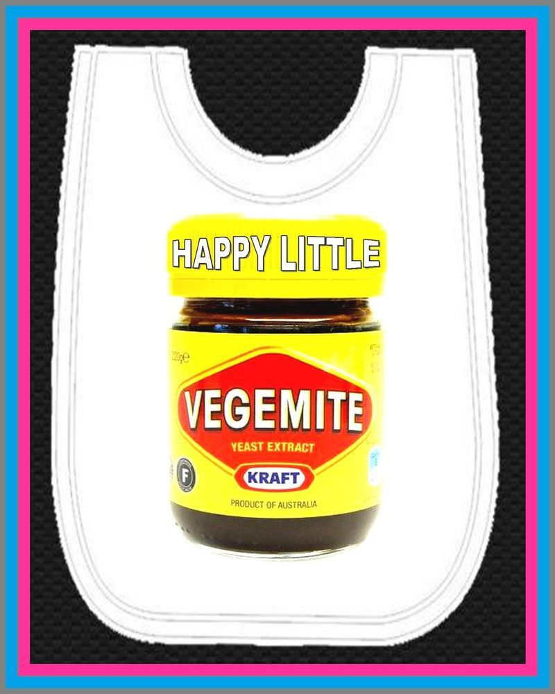 Baby Bib Large Pull Over Happy Little Vegemite One Size Bib Fits