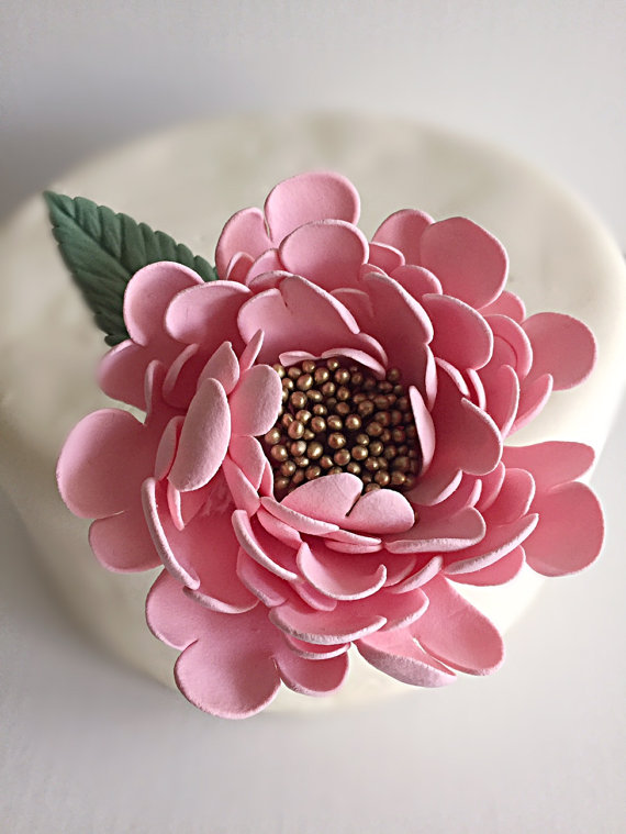 Wedding Flowers Pink And Gold : Pink gold peony wedding cake topper flower clay